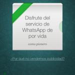 WhatsApp gratuito de por vida