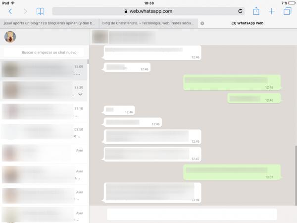 WhatsApp web en Safari (usado en un iPad, además)