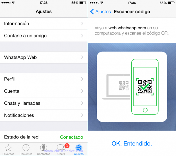 WhatsApp web en el iPhone