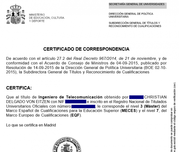 Certificado de correspondencia de Christian Delgado von Eitzen