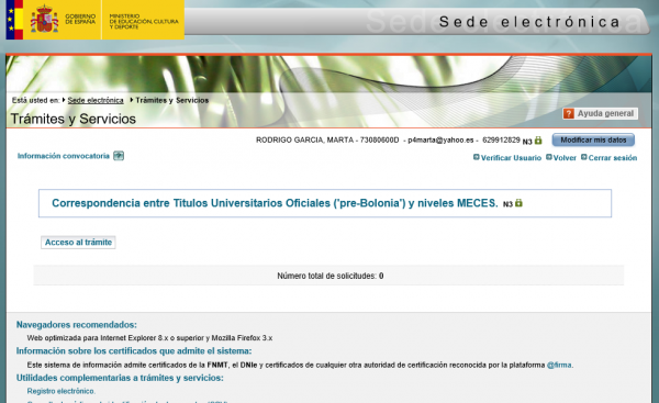 """Trámites y Servicios del Ministerio de Educación, Cultura y Deporte para la Correspondencia entre títulos oficiales """"pre-Bolonia"""" y niveles MECES."""