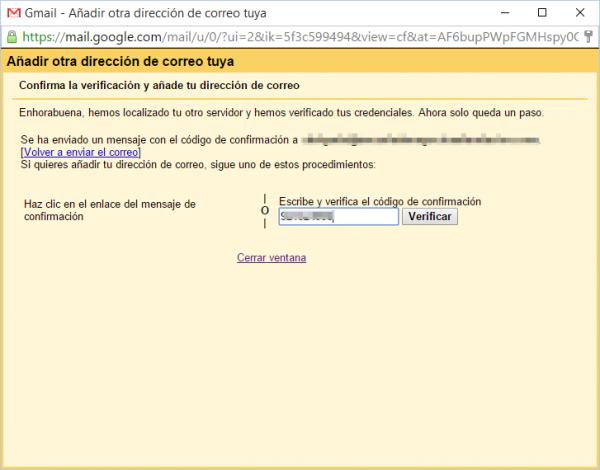 Confirmación para poder añadir una cuenta de Google apps a Gmail