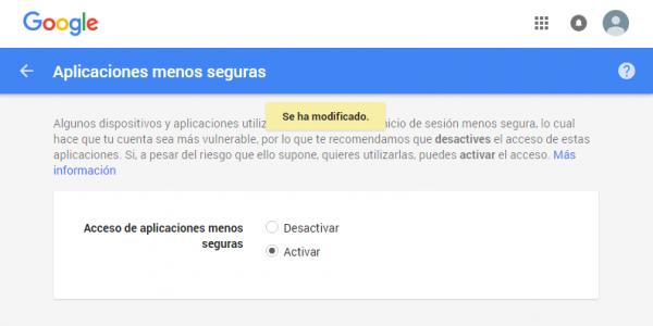 Gmail: permitir aplicaciones menos seguras