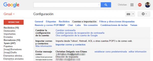 Gmail: cuentas e importación