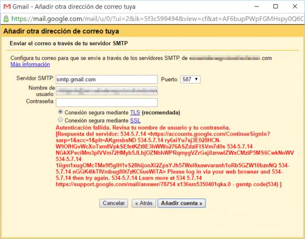 Gmail: please login vía web browser