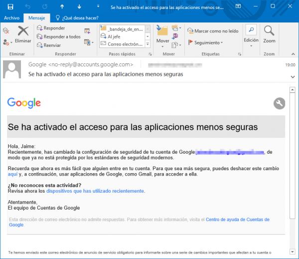 Se ha activado el acceso para las aplicaciones menos seguras