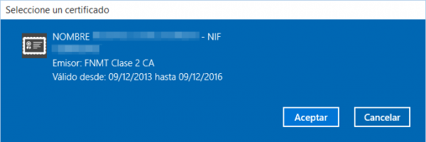 Certificado de la FNMT