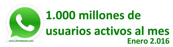 WhatsApp alcanza en enero de 2.016 la cifra de 1.000 millones de usuarios activos al mes
