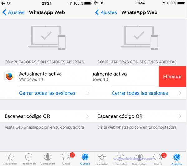 Cerrar una sesión de WhatsApp web en el iPhone