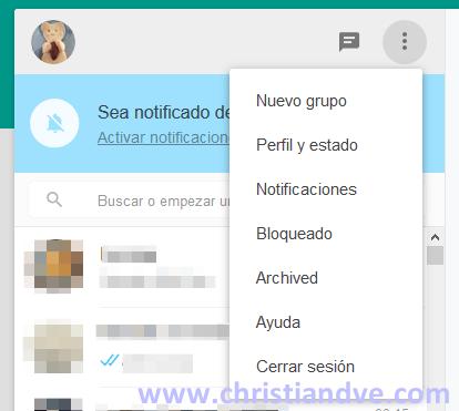 Creación de nuevos elementos en WhatsApp web
