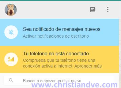 WhatsApp - tu teléfono no está conectado