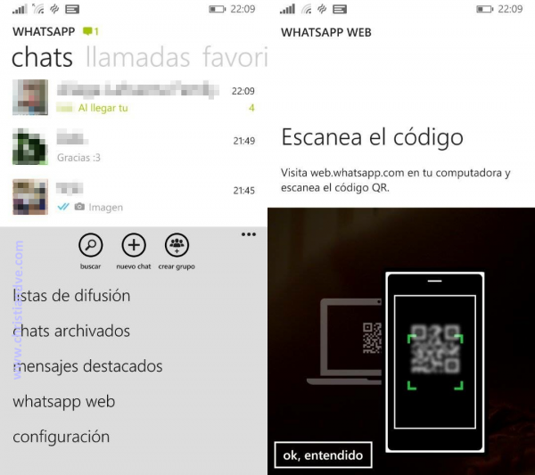 WhatsApp web en Windows Phone