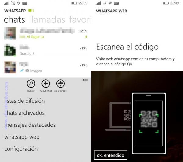 WhatsApp web en Windows Phone