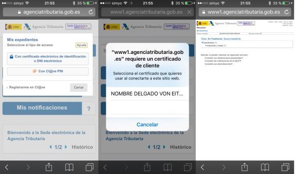 Navegando por la web de la Agencia Tributaria desde el iPhone con certifificado digital