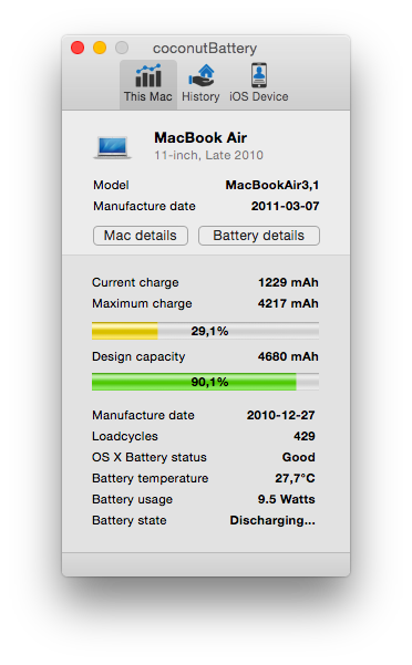 Informe de CoconutBattery en el MacBook