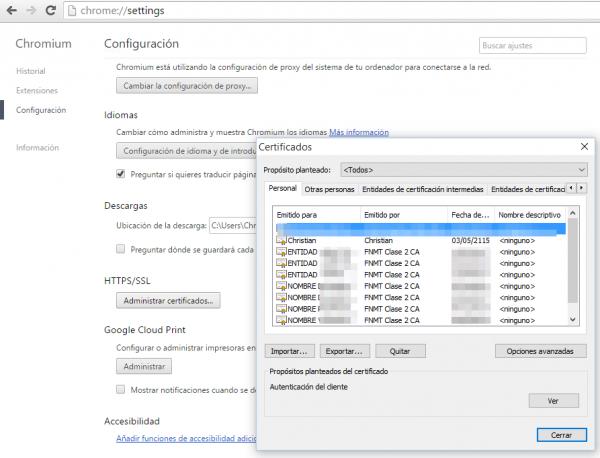 Exportar certificado - Google Chrome - Chromium