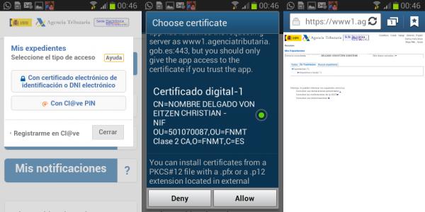 Navegar por la web de la Agencia Tributaria con el certificado digital clase 2 de la FNMT en Android