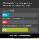 ¿Cuáles te gustaría que fuesen tus últimas palabras antes de morir?