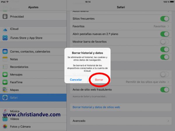 Borrar historial y datos de Safari en el iPhone, iPad o iPod touch