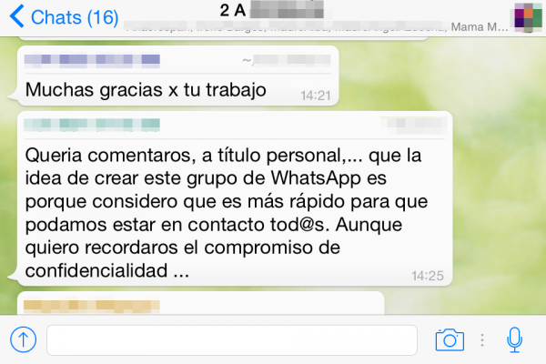 Grupo de WhatsApp de padres sobre temas escolares