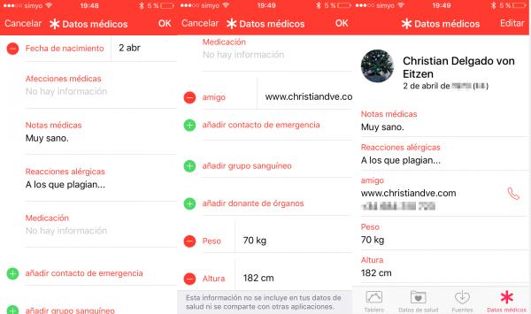 Información médica en el iPhone