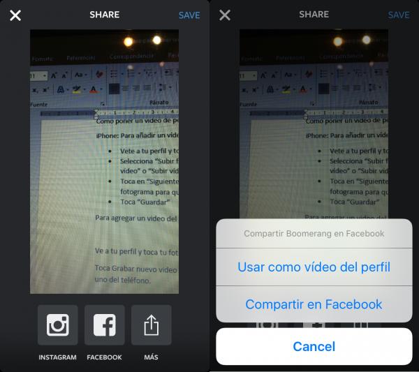 Cómo poner un vídeo de perfil de Facebook usando Boomerang (de Instagram)