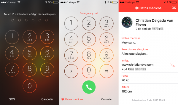 Consultar los datos médicos del iPhone en la pantalla de bloqueo