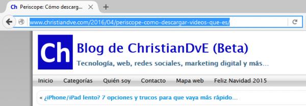 Control + L: URL actual