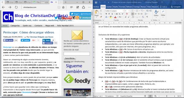 Windows + flecha: 2 programas en mosaico