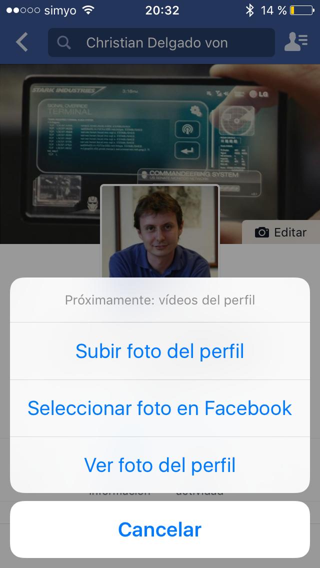 Como cambiar mi foto de perfil en facebook en ipad