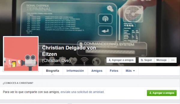 Perfil de Facebook con un vídeo