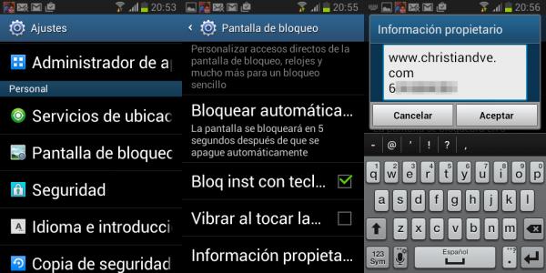 Cómo añadir la información del propietario en Android
