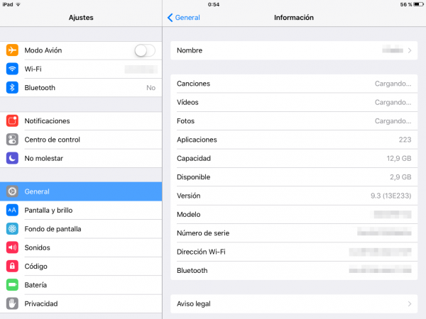 Espacio libre y utilizado antes de usar el truco para liberar espacio en el iPhone, iPad y iPod touch