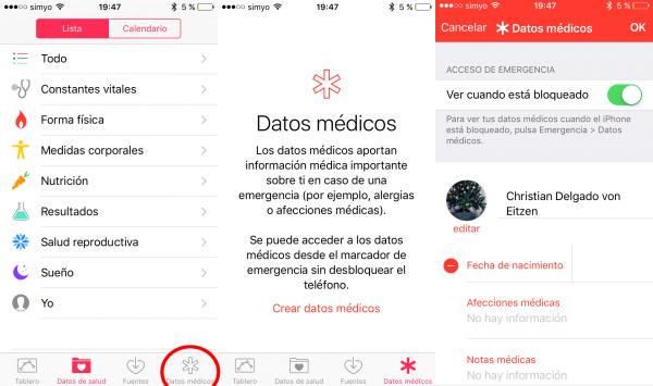 App de salud para añadir datos médicos del propietario del iPhone