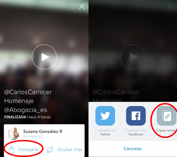 Periscope: compartir enlace