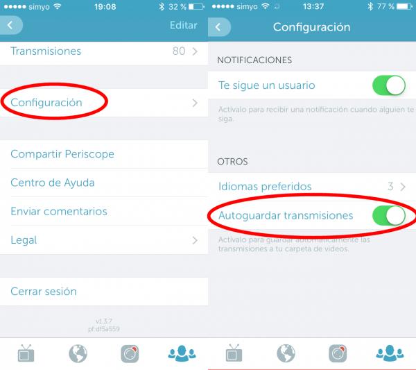 Periscope: configuración y autoguardar transmisiones