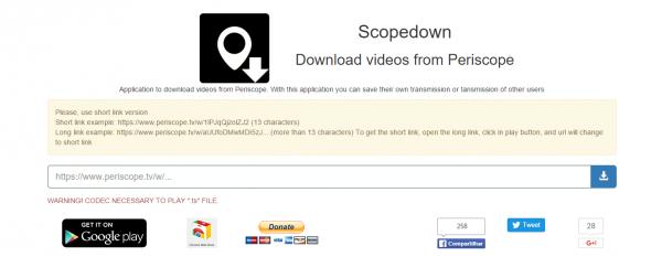 Scopedown: descargar vídeos de Periscope