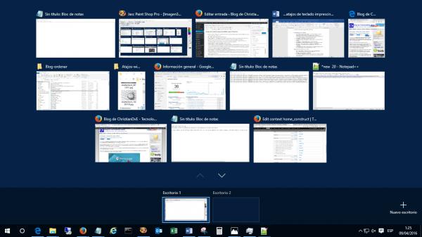Windows + Tab: vista de los escritorios y programas