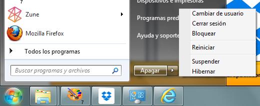 Menú de Windows 7: apagar, hibernar, suspender, cerrar sesión...