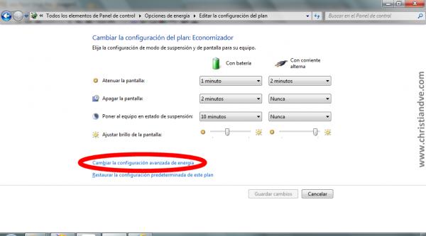 Windows 7: Cambiar la configuración del plan. Acceder a cambiar la configuración avanzada de energía
