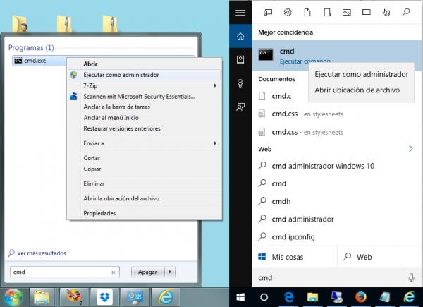 Buscar y ejecutar CMD como administrador (Windows 7 izquierda y Windows 10, derecha)