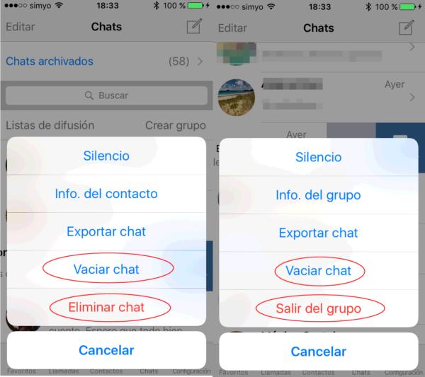 Cómo borrar chats de WhatsApp en iPhone de un contacto y de un grupo de WhatsApp