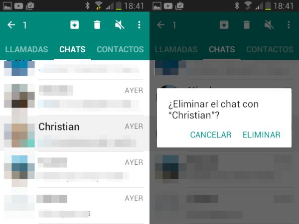 Cómo borrar chats de WhatsApp en Android de un contacto