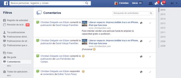 Registro de actividad en Facebook: comentarios
