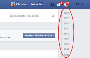 Selector de año en el registro de actividad de Facebook