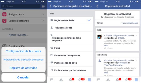 Registro de actividad en la app móvil de Facebook para iOS