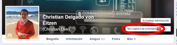 Ver registro de actividad en Facebook