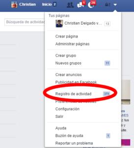 Aquí está el registro de actividad en Facebook