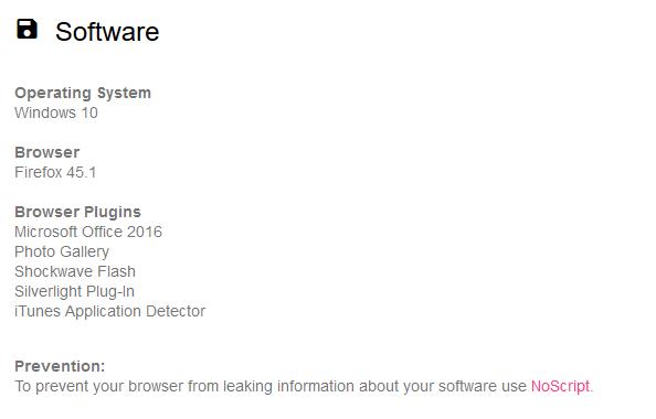 Software instalado en el ordenador