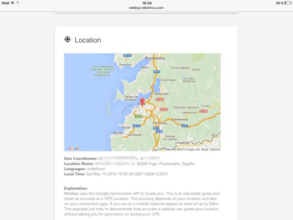 Ubicación en el mapa (desde el iPad)